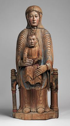 Virgin and Child in Majesty, 1150–1200, French; Made in Auvergne, Walnut with paint, gesso, and linen. (Sedes Sapientiae)