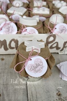 Pink Frilly: Un battesimo col cuore Diy Wedding, Wedding Favors, Party Favors, Favours, Bomboniere Ideas, Honey Favors, Cookie Packaging, Boy Baptism, Son Luna