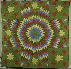 1870's Vintage Green Star of Bethlehem Antique Quilt ~VIBRANT EARLY FABRICS!
