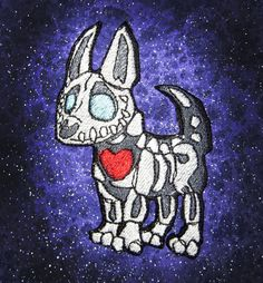 Skeleton Bone Dog Chihuahua Iron on Patch by SpiderStitchesParlor, $12.00