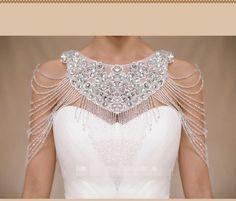 white/ivory Luxury Crystals Beading Wedding Shrug Wrap Bridal Bolero Jackets #JacketShawl