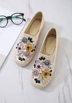 Available Sizes Heel Height :Flat Boot Shaft :Ankle Color :Apricot Toe :Square Shoe Vamp :Canvas Closure :Slip-On/Pull-On Pretty Shoes, Cute Shoes, Cute Womens Shoes, Shoes Women, Shoe Makeover, Embellished Shoes, Decorated Shoes, Everyday Shoes, Casual Shoes
