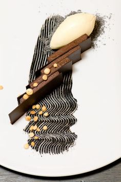 Pastry Chef Daniel Skurnick of Morimoto - New York, NY   Soft Chocolate Ganache, Black Sesame, and White Sesame Ice Cream