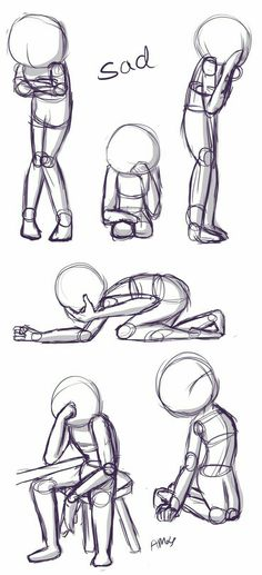 Positions: This is a quick little reference sheet of sad poses. - verlobungsringe Sad Positions: This is a quick little reference sheet of sad poses.Sad Positions: This is a quick little reference sheet of sad poses. Pencil Art Drawings, Art Drawings Sketches, Sad Drawings, Drawings Of Sadness, Cartoon Drawings, Horse Drawings, Drawing Techniques, Drawing Tips, Drawing Ideas
