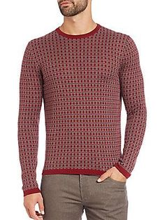 Saks Fifth Avenue Collection Jacquard Square Print Sweater - Red - Siz
