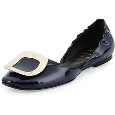 Ballerine Chips Patent Leather d'Orsay Flat, Navy by Roger Vivier at Neiman Marcus. Navy Blue Shoes, Navy Flats, Best Flats, Roger Vivier, Loafers For Women, Pump Shoes, Flat Shoes, Zapatos, Pumps