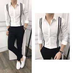 Áo sơ mi tay thời trang nam sọc đứng bên MÃ SỐ: 0196 - Chất liệu: kate lụa - Hàng có sẵn, ship toàn quốc. - Size : M (45-57KG), L (58-65KG), XL(66-75KG) - Màu sắc : trắng Giá: 230k Mua hàng: 0906.87.83.86 - 09.666.333.21 ( zalo , viber , mess, call ) #MensT-shirts Mens Designer Shirts, Designer Suits For Men, Indian Men Fashion, Mens Fashion Suits, Formal Shirts, Casual Shirts, Formal Men Outfit, African Shirts, Stylish Mens Outfits