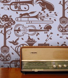 Mini Moderns - Pet Sounds Wallpaper - Heather and Bitter Chocolate | DEVOTEDTO home to many Great British Design brands including GPlan Vintage and many more