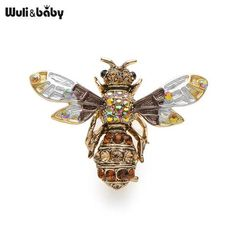 New Crystal Brown Green Color Bee Brooches For Women And Men High Quality  Suits Dress Sweater Brooch Pins Hat Collar Pin Gift f4825e2c28e6