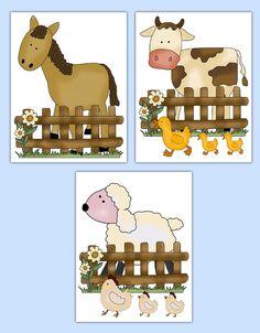 FARM ANIMAL NURSERY Prints Baby Girl Barnyard Wall Art Room Decor Boy Neutral Shower Gift Kids Bedroom Horse Pony Sheep Cow Duck Chicken #decampstudios