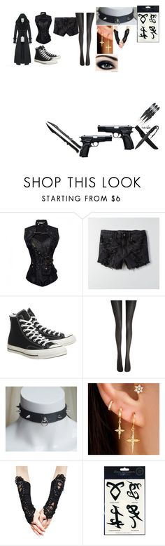 """to another dimension black butler"" by getjinxed205 on Polyvore featuring American Eagle Outfitters, Converse and Wolford"