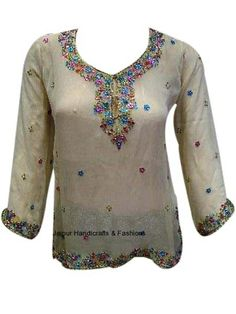 Shop online in India for the elegant and beautiful georgette kurti top with beautiful embellishments on neckline and sleeves.