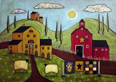 folk art | Old Red Weathered Barn By Karla Gerard