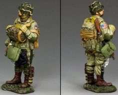 World War II U.S. 101st Airborne DD263-1 Standing Ready with Tommy Gun - Made by King and Country Military Miniatures and Models. Factory made, hand assembled, painted and boxed in a padded decorative box. Excellent gift for the enthusiast.
