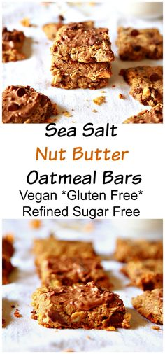Sea Salt Nut Butter Oatmeal Bars - :: Nutrizonia :: Healthy Bars, Healthy Desserts, Healthy Food, Almond Butter Cookies, Nut Butter, Gluten Free Sweets, Vegan Gluten Free, Small Food Processor, Food Processor Recipes