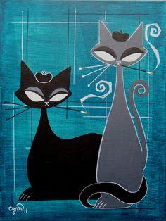 Mid Century Modern Art, Mid Century Art, Azulejos Art Nouveau, Illustration Art, Illustrations, Black Cat Art, Cat Quilt, Cat Crafts, Cat Drawing