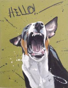 Dog painting, animal art, barking dog on canvas