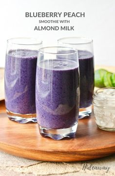 Healthy Breakfast Blueberry Peach Smoothie with Bananas and Frozen Fruit FromOurHIdeaway.com