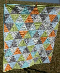 Baby Boy Quilt Triangle Quilt