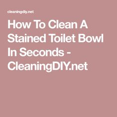 How To Clean A Stained Toilet Bowl In Seconds - CleaningDIY.net