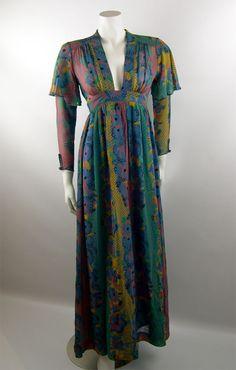 Ossie Clark 1970s Celia Birtwell Printed Dress - Ossie Clark - Designer Vintage