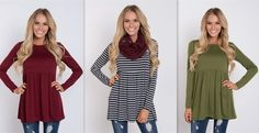 It's a perfect long sleeve tee with a babydoll cut that makes it super flattering! Only $22.99!