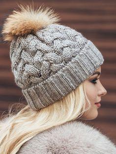 27c15f3a72f554 Fur pom pom fleece lined beanie, Pom Pom Hat, Knit beanie, Women winter