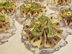 Pattern & Crepe Paper Rosette Christmas Ornaments