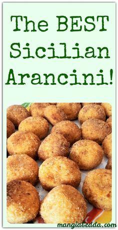 Sicilian Arancini, or rice balls, are a typical Sicilian street food. Sicilian Arancini, or rice balls, are a typical Sicilian street food. Meat Recipes, Appetizer Recipes, Cooking Recipes, Appetizers, Vegetarian Recipes, Recipies, Italian Rice Balls Recipe, Comida Siciliana, Gluten Free Puff Pastry