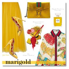 """""""Stay Golden: Dressing in Marigold ... 2017"""" by greta-martin ❤ liked on Polyvore featuring Gucci, Rochas, Chanel, Bourjois, contestentry, polyvorecontest and marigold"""