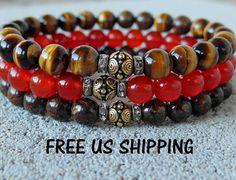 Protection set of 3 mala bracelets, Bronzite, Carnelian, Tiger eye, yoga bracelet set, Protection bracelets,Yoga set, Reiki, mala set