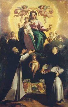 """Virgen del Rosario con Santo Domingo y Santo Tomás de Aquino (Francesco Madonnina, 1589, Museo Cívico """"Il Correggio"""", Correggio)"""