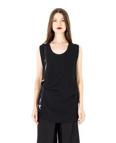 ILARIA NISTRI SILK TOP S/S 2016 Black silk top round neckline sleeveless  voile inserts 100% SE