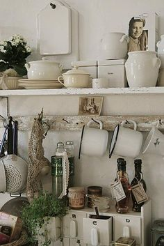 "Nowadays, more and more people are utilizing the ""shabby chic"" approach to interior design and decoration. Kitchen Design, Kitchen Decor, Kitchen Storage, Kitchen Stuff, Kitchen Shelves, Dish Storage, Kitchen Plants, Kitchen Display, Shelf Display"