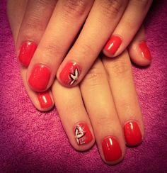 nails, short nails, red, flowers