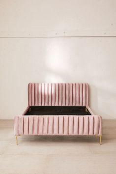 Marcella Velvet Bed | Urban Outfitters Velvet Bed Frame, Velvet Headboard, Grey Velvet Bed, Pink Bedding, Diy Bed, Upholstered Beds, Headboards For Beds, Home Decor Bedroom, Home Interior Design