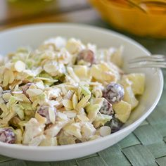 This curried chicken salad recipe consists of cooked diced chicken, celery, grapes and apples, bound together by curry spiced mayonnaise.