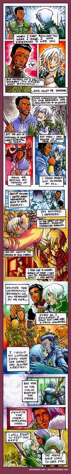 Comic is Mild NSFW for sensual kissing. Contains M!Hawke/Fenris, so if your sensibilities are far too easily offended by that, please press the back button on your browser. Thank you! A Bitter Pill...