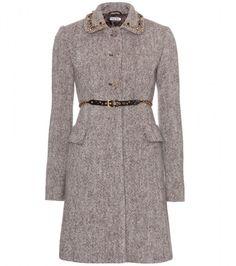 Miu Miu Wool Coat with Embellished Collar in Gray (ebano) - defined waist