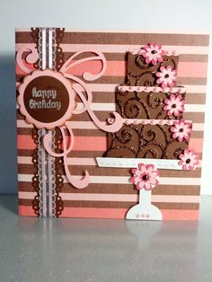 Brown & Pink Happy Birthday Cake card - emboss the cake with divine swirls cuddlebug folder and then use stickles to go over the swirls! Homemade Greeting Cards, Homemade Cards, Handmade Birthday Cards, Happy Birthday Cards, Cricut Cards, Stampin Up Cards, Birthday Cake Card, Bday Cards, Beautiful Handmade Cards