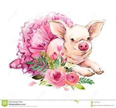Cute Pig Watercolor Illustration Stock Illustration – Illustration of card, cute… Cute Pig Aquarell Illustration Lizenzfreie Bilder – Illustration der Karte, niedlich: 116157903 Pig Illustration, Watercolor Illustration, Watercolor Art, Pig Drawing, Pig Art, Cute Pigs, Little Pigs, Embroidery Kits, Beaded Embroidery