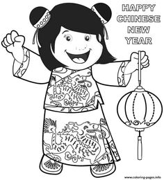 Greet The New Year Chinese Celebrate With Friends Coloring Pages