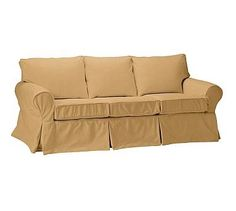 PB Basic Slipcovered Sleeper Sofa, Polyester Wrapped Cushions, Linen Blend Gold