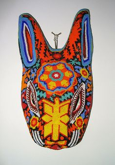 Huichol rabbit mask with beads by Karen Elwell