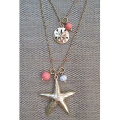 Gold Big Starfish Pendant Smaller Sand Dollar Charm Layer Coral Necklace Earring Ocean Beach Jewelry Set