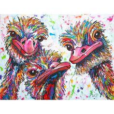 Struisvogel liefde - Vrolijk Schilderij
