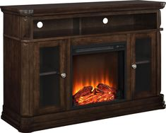 """Altra Furniture Brooklyn Fireplace TV Stand, 55"""", Espresso. Accommodates a flat panel TV up to 48"""" (70 lbs.). Rich espresso finish with wire management and 2 glass doors for accessories. Insert Dimensions: 18""""W. LED light source has up to 50000 Hours of life. 120 Volts/ 1,400 Watts/ 4,600 BTU heats up to 400 sq. ft. room."""