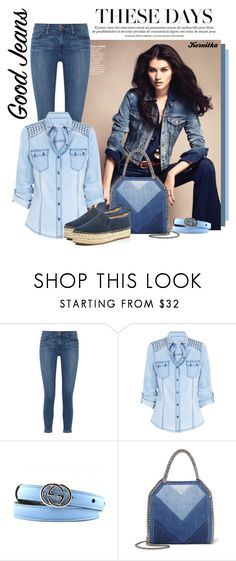 """""""nr 1218 / All Denim: Head to Toe"""" by kornitka ❤ liked on Polyvore featuring Frame, Gucci, STELLA McCARTNEY, Sam Edelman and alldenim"""