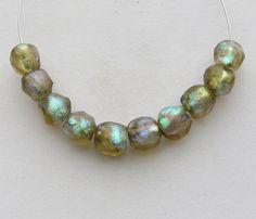 10 Lampwork Glass Handmade Basha Beads, Labradorite Series, Greco Roman Glass Replica, Ancient Earthy Organic, Chunky Small Statement Beads