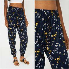 Womens Navy Floral Summer Trousers Joggers Elasticated Waist UK Cotton NEW Harem Pants, Trousers, Navy Women, Online Price, Parachute Pants, Joggers, Best Deals, Floral, Casual